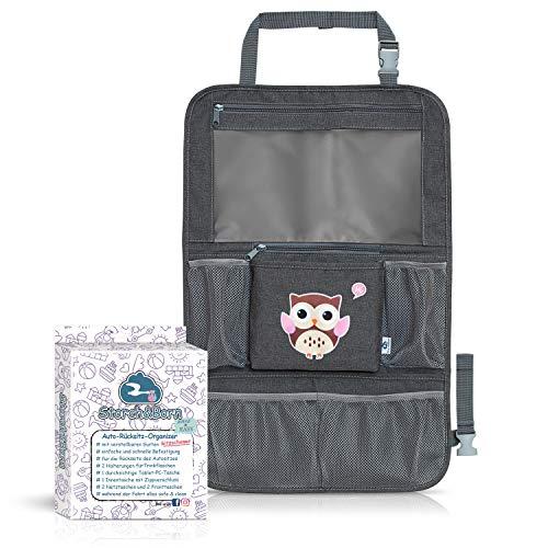 Storch&Born ® Auto Rückenlehnenschutz Kinder, Eulenmotiv Braun, Autositz-Schoner mit Taschen und Tablet-Fach | Auto Rücksitz Organizer | Rücksitztasche