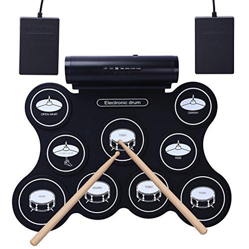CAHAYA E-Drum E-Drums - Elektronische Schlagzeuge 9 Pads Elektronische Drum-Kits Electronic Drums E-Drum Percussion Pad Mit eingebautem Lautsprecher, 2 Fußped für Kinder und Erwachsene geeignet