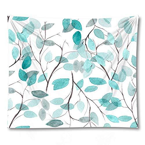 PPOU Tapiz de Hoja Verde Sala de Estar Dormitorio Planta Tropical impresión Colgante de Pared Boho Tapiz Decorativo Tela de Fondo A15 150x200cm
