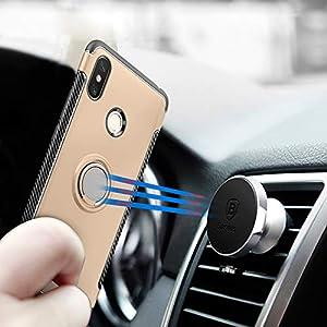 LFDZ Xiaomi Mi MAX 3 Anillo Soporte Funda 360 Grados Giratorio Ring Grip con Gel TPU Case Carcasa Fundas para Xiaomi Mi MAX 3 Smartphone(con 4 en 1 Regalo empaquetado),Gold