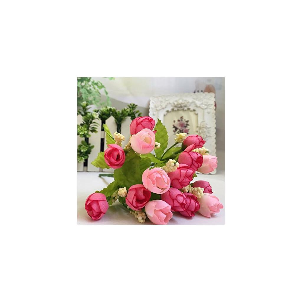 15 Heads Artificial Rose Silk Fake Flower Leaf Home Decor Bridal Bouquet Pink