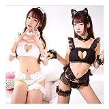 Hjbds Costume Sexy Cat Keyhole Soutien-Gorge Slip de Bell Choker Set Lingerie Lingerie Femme Japonaise Lingerie Sexy Police Uniformes (Color : FZ05 White, Size : One Size)