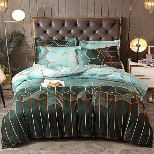 Tokstyle Set di biancheria da letto, 3 pezzi, 200 x 200 cm, con motivo geometrico diamante, in microfibra, 1 copripiumino con chiusura lampo e 2 federe 80 x 80 cm