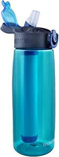 mountop Portable Water Filter Bottle - Emergency Water Filtered Bottle with 2-Stage Integrated Filter Straw for Hiking Backpacking and Travel BPA Free 22oz