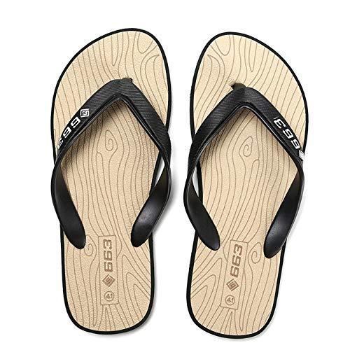 Sandalias de Dedo Cómodas para Hombres Chanclas,Zuecos de mujer hombre,Flip-flops de verano, zapatillas antideslizantes del pie de grano de madera, playa de ocio al aire libre tiene la forma-Caqui_39