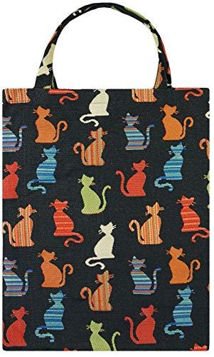 robuste Canvas-Einkaufstaschen Tasche Beutel Bag Jute Stoff Shopper Henkel Trage Einkäufe Katzen Schwarz