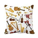 N\A Throw Pillow Cover Instrumentos Musicales de Guitarra eléctrica Saxofón y Arpa Funda de Almohada para Tambor Funda de Almohada Cuadrada Decorativa para el hogar Funda de cojín