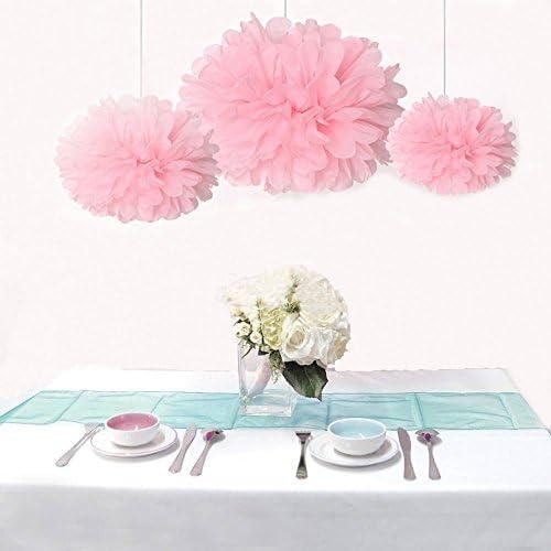Saitec 12PCS Mixed Sizes Pink Tissue Paper Flower Pom Poms Pompoms Wedding Birthday Party Baby product image