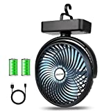 Best Camp Fans - BRIGENIUS Camping Fan with LED Lights 7-Inch, Rechargeable Review