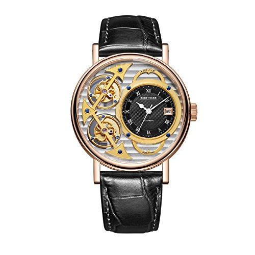 Reef Tiger Men's Fashion Watches Double Tourbillon Rose Gold Skeleton Watches Leather Strap RGA1995 (RGA1995-PSBB)
