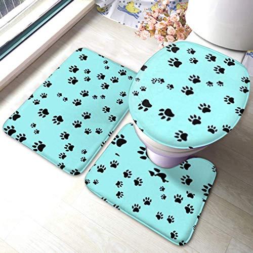 XHYYY WC-Teppich-Set Nahtloses Muster Hunde Pfoten Druck Vektor rutschfeste Badezimmerteppich-Matten-Sets , WC-Pad-Abdeckung Badematte und WC-Deckelabdeckung