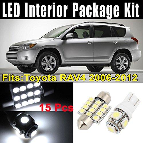 15 Pcs Phares LED Lumières Intérieur Blanc Dôme Carte Kit de Lampe pour Toyota RAV4 2006-2012 (7xT10-5-5050 + 8x31mm-12-3528)