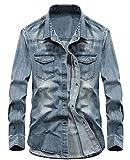 chouyatou Men's Essential Button Down Long Sleeve Washed Denim Shirt (X-Large, Light Blue)