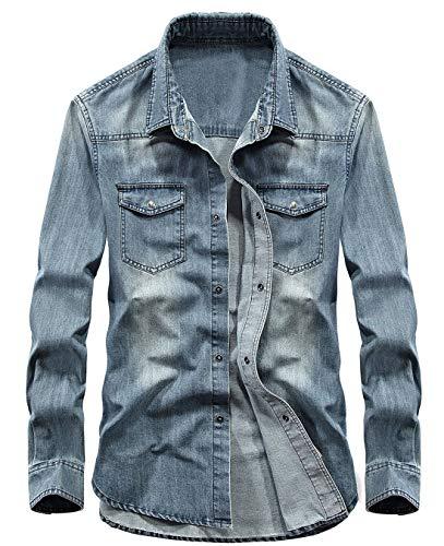 chouyatou Men's Essential Button Down Long Sleeve Washed Denim Shirt (Large, Light Blue)