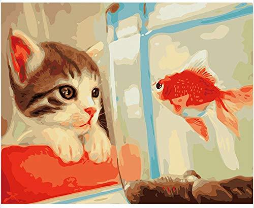 Wzjxzsynl schilderen op cijfers, katjes en goudvis in het aquarium DIY digitaal schilderen op cijfers Moderne kunst canvas schilderij geschenk voor kinderen wooncultuur