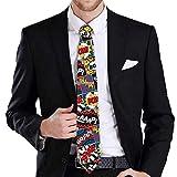 """fantasy socks funny superhero pow marvel inspired necktie tie 3.75"""" satin"""