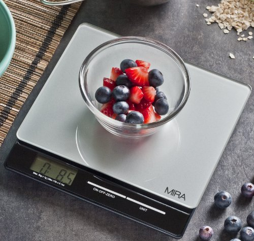 MIRA Digital Easy to Use Kitchen Food Scale | Portable Lightweight Slim Food Scale Measures Grams, Pounds & Ounces Glass Platform Multifunction Scale | TARE function | 11 lb Capacity