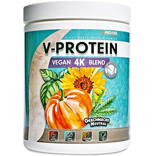 Vegan Proteinpulver - Neutral - V-PROTEIN 4K Blend - 480g - Naturbelassenes Protein zum Backen und Kochen – Aus Sonnenblumen, Soja, Hanfsamen & Kürbiskernen - Pflanzliches Eiweißpulver mit 86{f9b80c942761c79ba384ae0381c96910e390d5f8f9a4b1c8001bccdb12b1df27} Eiweiß