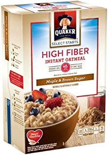 Quaker; Select Starts High Fiber Maple & Brown Sugar Instant Oatmeal, 8 Count, 1.58 Oz. Packets (Pack of 24)