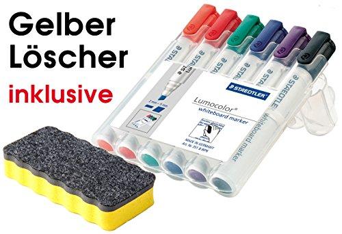 Staedtler 351 B WP6 Lumocolor whiteboard marker, Staedtler Box mit 6 Farben, (1 Marker Set + Whiteboardlöscher)| Auch im Set mit diversem Zubehör wählbar