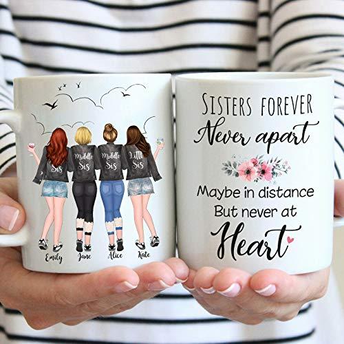 "Amo Distro Taza de café personalizada con texto en inglés ""Best Friends Girlfriends Tea Soul Sisters Best Bitches"" | Regalo de cumpleaños personalizado"