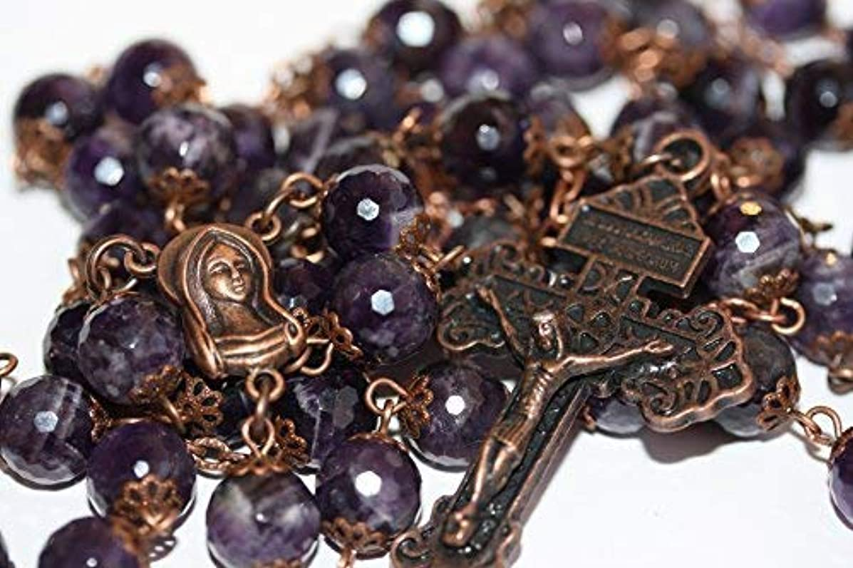 Large Amethyst and Copper 10mm 5 Decade Stone Bead Rosary With Pardon Crucifix Made in Oklahoma