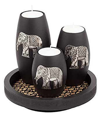 IYARA CRAFT Tealight Candle Holders with Candle Tray Set of 3 Decorative Candle Holders Matte Wood Finish with Inlaid Aluminum Antique Elephant Intricate Details from Easy_Company