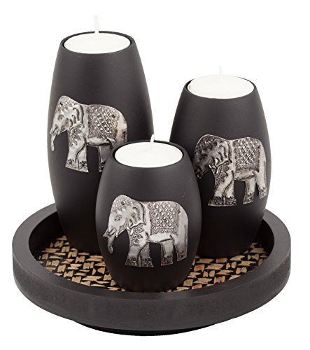 IYARA CRAFT Tealight Candle Holders with Candle Tray Set of 3 Decorative Candle Holders Matte Wood Finish with Inlaid Aluminum Antique Elephant Intricate Details