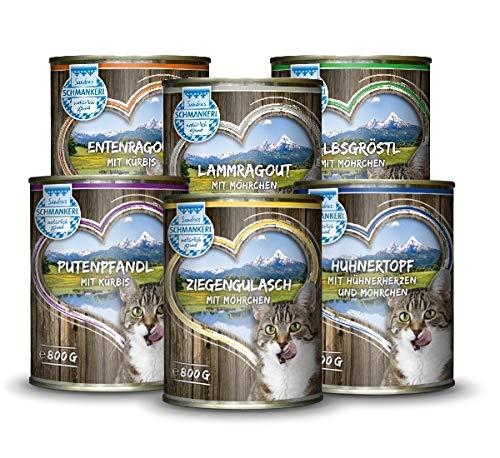 Sandras Schmankerl Nassfutter für Katzen Probierpakerl 6 x 800g. | getreidefrei | zuckerfrei | Monoprotein