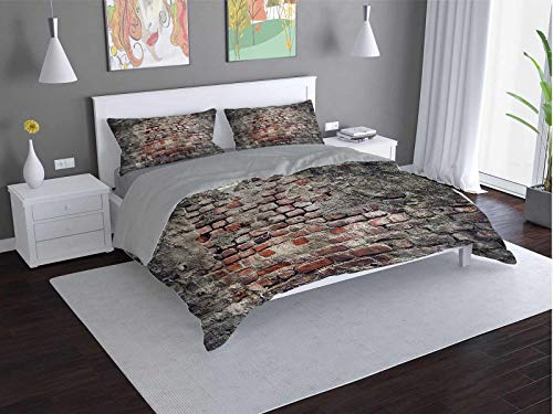 Toopeek Brick-Wall hotel bed linen Ancient-Urban-Street polyester - soft and breathable (Twin)