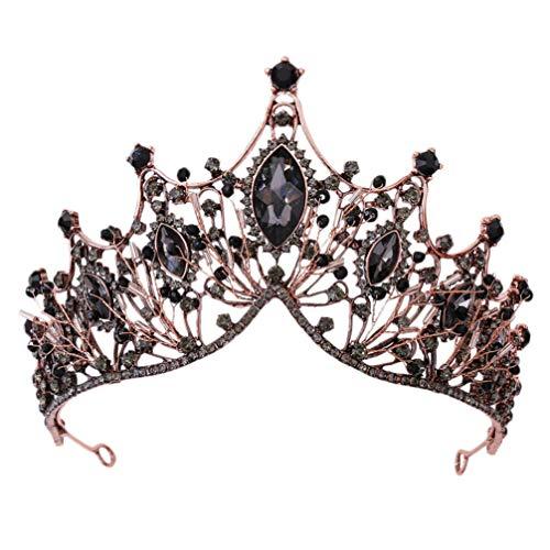 Minkissy Barock Braut Kronen Und Diademe Vintage Kristall Prinzessin Königin Krone Barock Strass Stirnband für Braut Frauen Hochzeit Abschlussball Festzug Kupfer Schwarz