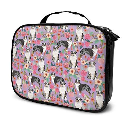 Bolsa de cosméticos floral para perro pastor australiano, bolsa de maquillaje, bolsa de aseo con cremallera, organizador de viaje para mujeres y niñas