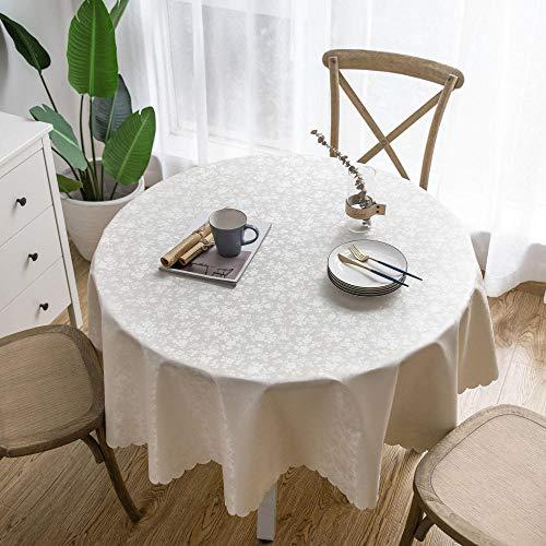 Manteles Antimanchas Redondos Mantel PVC Mesa Impermeable Comedor Rosa Cremoso-Blanco-140cm