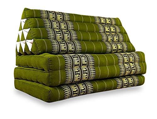 livasia Kapok Thaikissen extrabreit, Dreieckskissen, Liegekissen, asiatische Liegematte (grün/Elefanten)