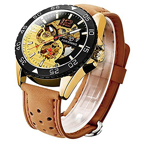 Reloj de Hombre, mecánico de Dos Tonos, Esqueleto, diseño Steampunk, automático, automático, con números árabes, Reloj de Pulsera litbwat
