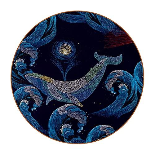Juego de 6 posavasos redondos de piel de microfibra con posavasos decorativos para tipos de tazas y tazas, ballenas y ancla faro de onda de mar y barco