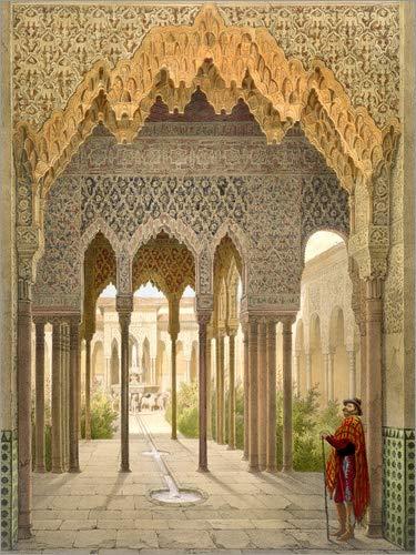 Poster 100 x 130 cm: Das Gericht der Löwen, die Alhambra in Granada, 1853 von Léon Auguste Asselineau/Bridgeman Images - hochwertiger Kunstdruck, neues Kunstposter