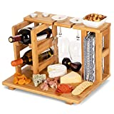 wine and cheese holder - Bamboo Wine and Cheese Display Board with Wine Caddy, Holds 2 Wine Bottles and Glasses - Wooden Charcuterie Serving Platter Set - Portable Appetizer Boards for Picnics, Outdoors, Parties