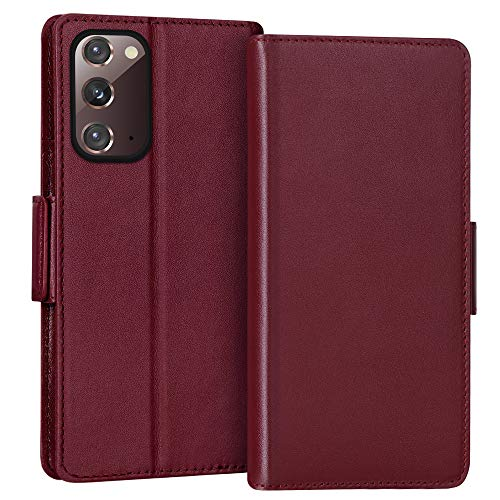 "FYY Case for Samsung Galaxy Note 20 6.7"", Luxury [Cowhide Genuine Leather][RFID Blocking] Wallet Case, Flip Folio Case Cover with [Kickstand Function] and[Card Slots] for Galaxy Note 20 6.7"" Wine Red"