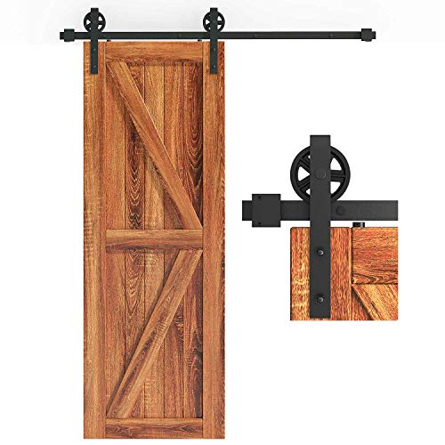 EaseLife 5 FT Heavy Duty Big Wheel Sliding Barn Door Hardware Track Kit,Ultra Hard Sturdy,Slide...