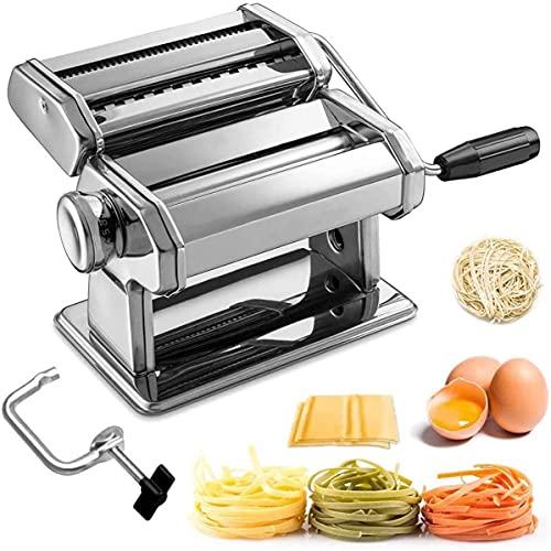 Nudelmaschine, Sailnovo Manuelle Nudelmaschine mit 7 Einstellbare Dicke, 2 In 1 Nudelschneider und Klemme für Frisch Spaghetti Nudeln Lasagne, Nudelmaschine Geschenk Set