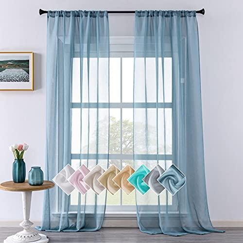 CUTEWIND Cortinas con cinta fruncida, barra de paso, cortinas en aspecto de...