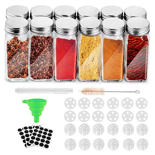 Spice Jars with Lids 12 Pcs, Glass Spice Jars 120ml PE Foam Gasket Good Gas...