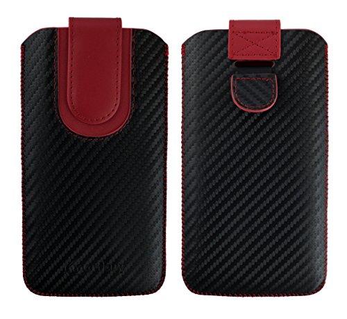 emartbuy Schwarz/Rot Premium PU Leder Carbon Fibre Finish Slide in Pouch Case Cover Hülsenhalter Hulle (Größe LM4) mit Pull Tab Mechanismus Kompatibel mit Smartphones Aufgeführt Unten