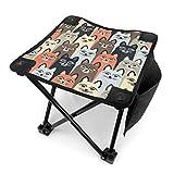アウトドア 椅子 カラフルな子猫パターン アウトドア 椅子 ピクニック 釣り コンパクト イス 持ち運び キャンプ用軽量 収納バッグ付き 折りたたみチェア レジャー 背もたれなし