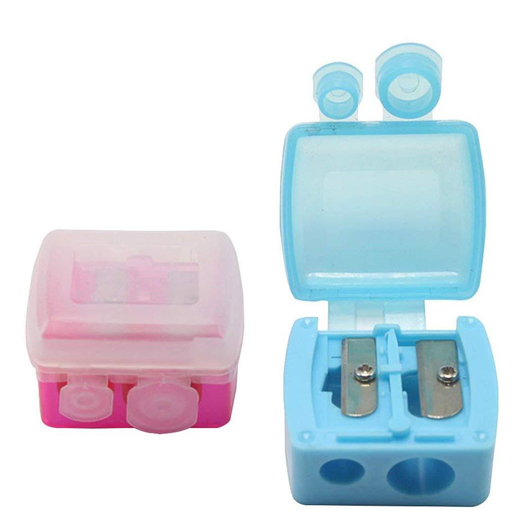 12pcs sacapuntas agujeros de maquillaje duales con cubierta mate, manual de corte lápiz de cejas en forma de caja: Amazon.es: Hogar
