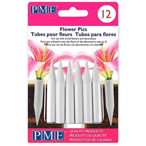 PME Mittlere Blumenbilder, Packung mit 12 Stück, Kunststoff, Weiß, 0.8 x 0.8 x 5.6 cm, Einheiten