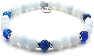 Bracciale da donna e da uomo bracciale elastico pietre naturali Acquamarina e Agata Blu