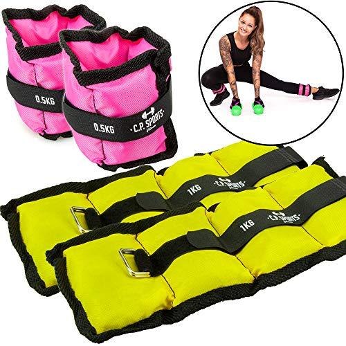 C.P.Sports Gewichtsmanschetten - Set für Hand und Fußgelenke 2X 0,5kg - 2X 1kg - Gewichte für Arme und Beine Gewichtsmanschette für Damen und Herren