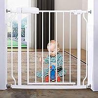 """ALLAIBB Walk Through Baby Gate 自動閉鎖 ホワイト チャイルドセーフティーゲート、Ex 24.0-71.7 インチ EX. 29-33.8""""/74-86 cm ホワイト AMALLUSW004603-7486WH"""